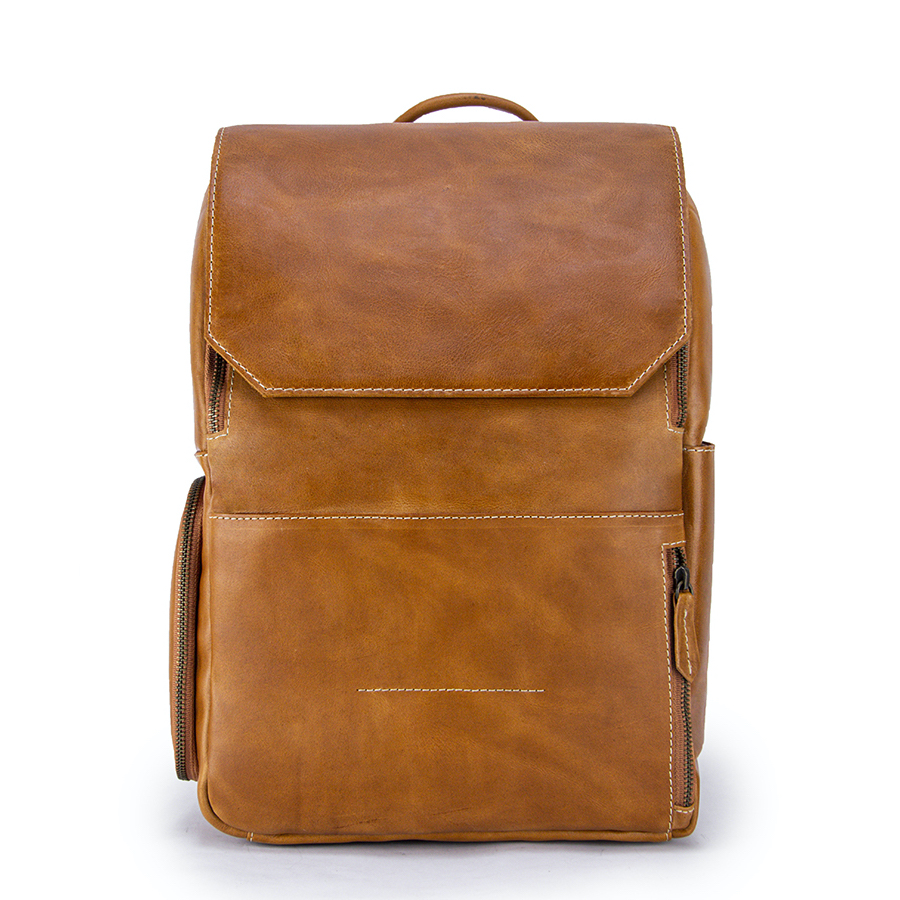 Minimalist Copper Leather Backpack Front