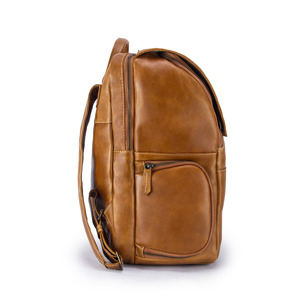 Minimalist Copper Leather Backpack Side with Pocket