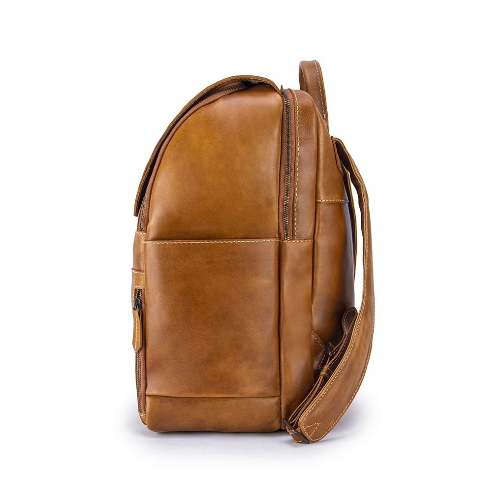Minimalist Copper Leather Backpack Side