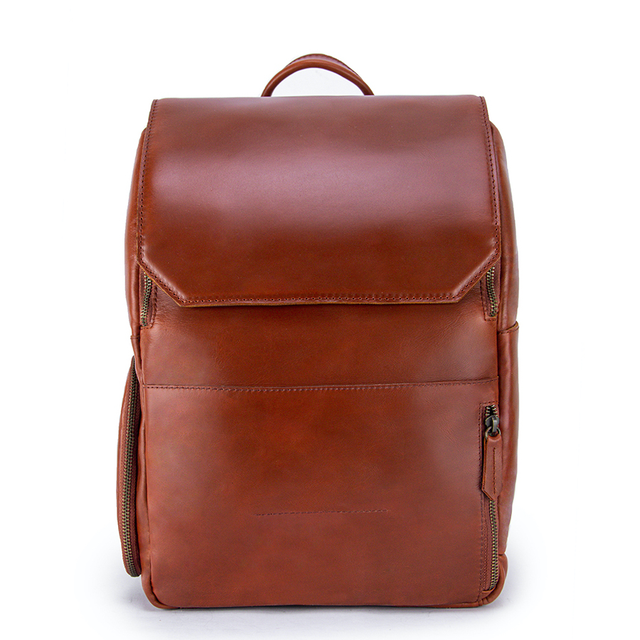 Minimalist Clay Leather Backpack Front