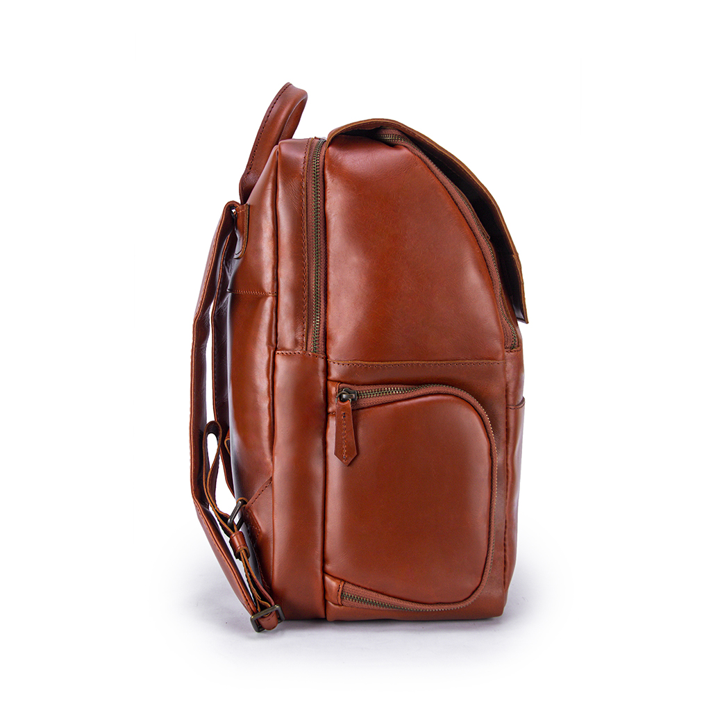 Minimalist Clay Leather Backpack Front Side with Pocket