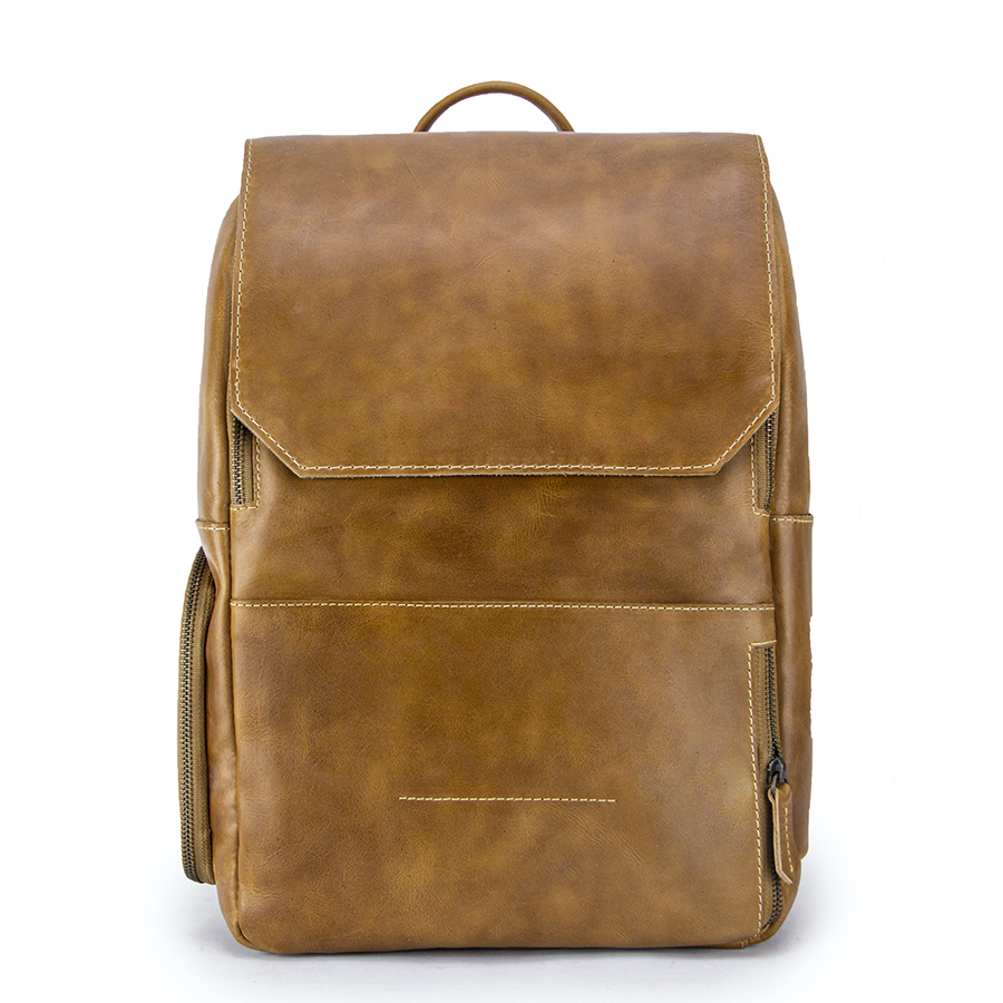 Minimalist Sand Leather Backpack Front