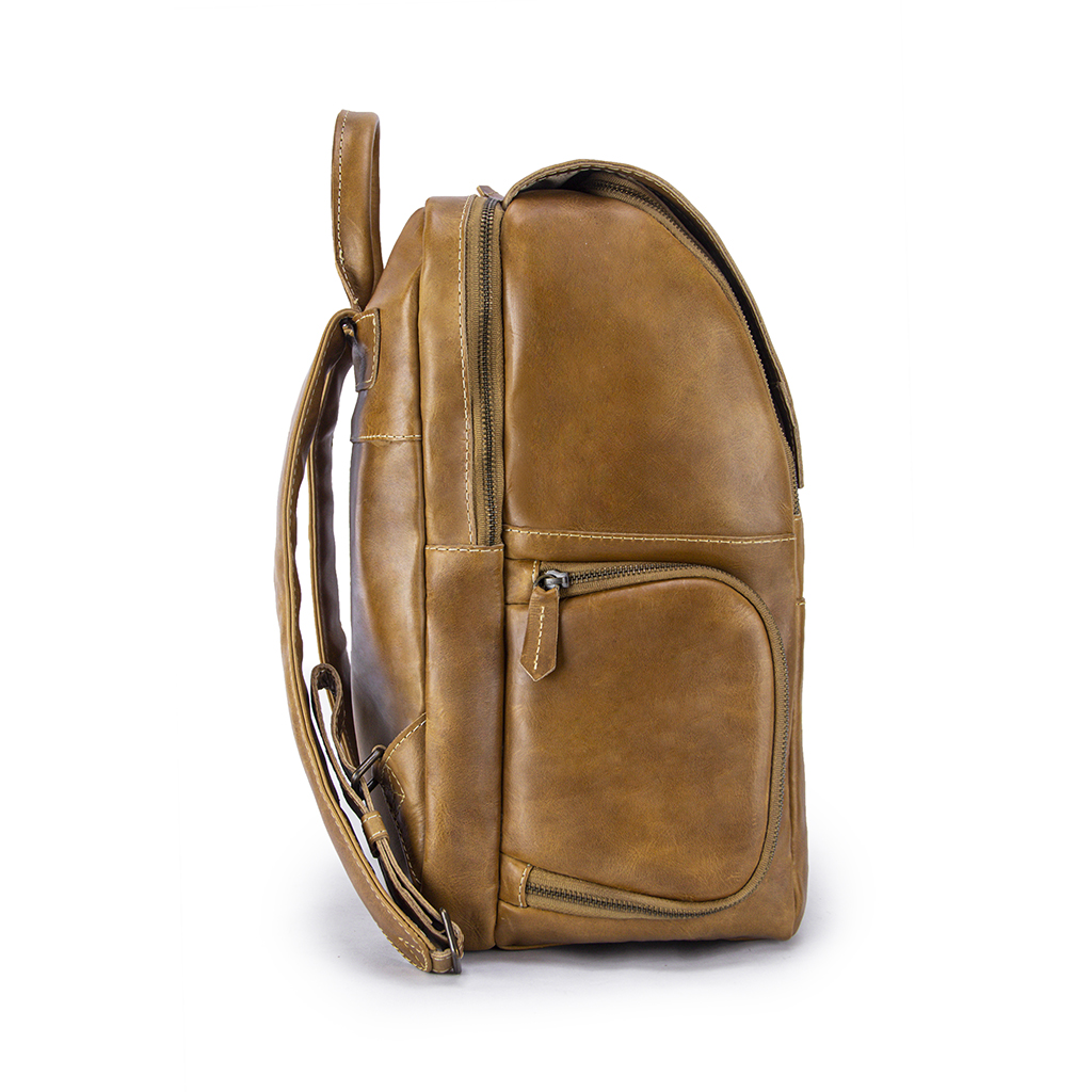 Minimalist Sand Leather Backpack Side with Pocket